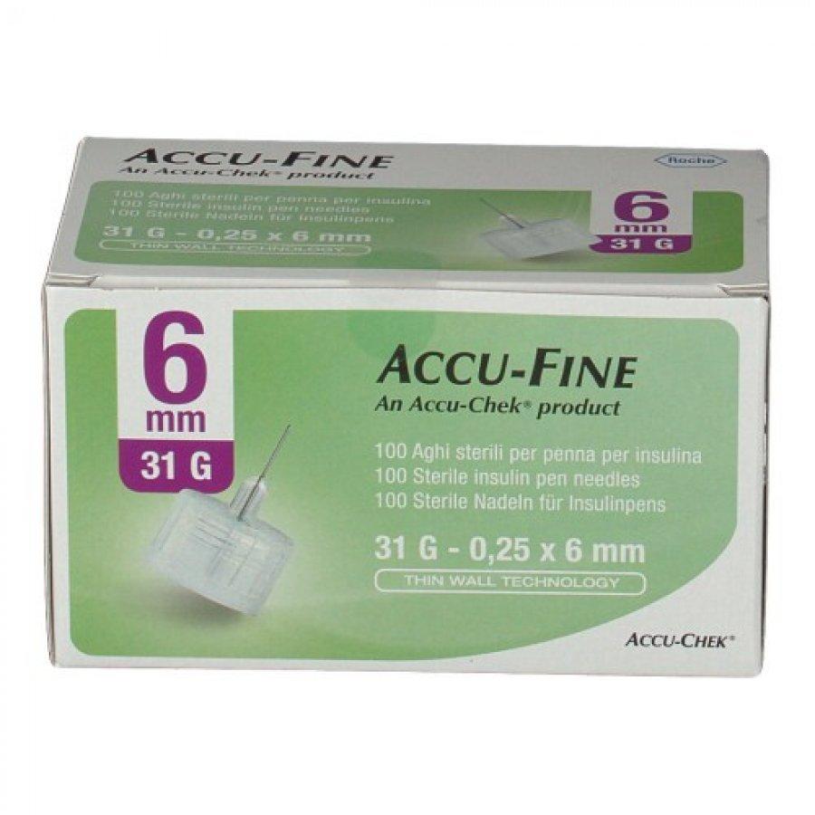 Accu Fine Ago Per Penna Da Insulina 6 mm 31 G 100 Pezzi