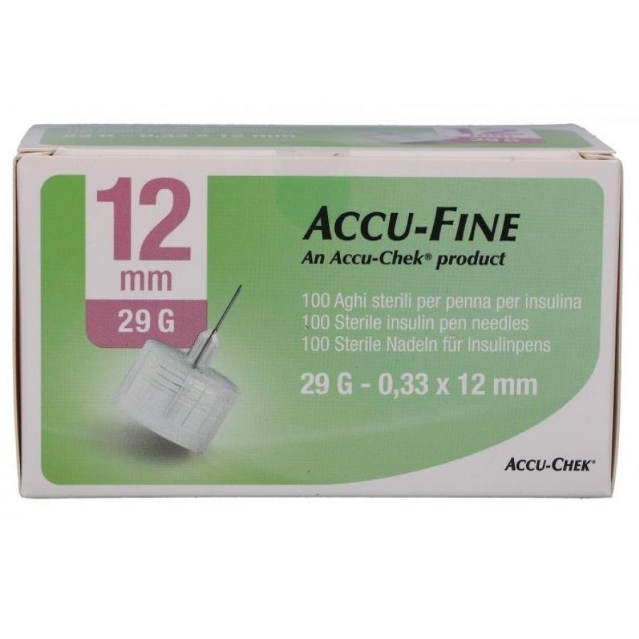 Accufine - 100 Aghi Sterili G29 Da 12 Mm Per Penna Insulina