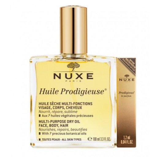 Nuxe - Huile Prodigieuse Olio Secco 100ml + Prodigieux Le Parfum  - 1,2ml.
