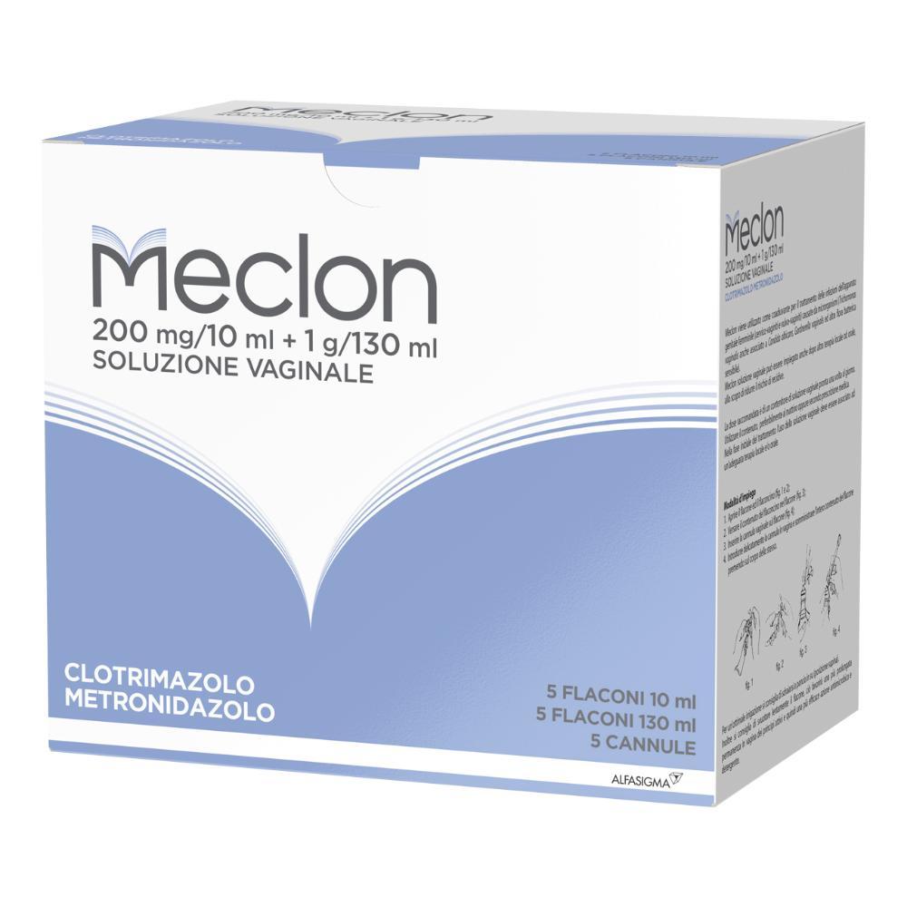 Meclon 200 mg/10 ml + 1 g/130 - soluzione vaginale 5 flaconi 10 ml + 5 flaconi 130 ml